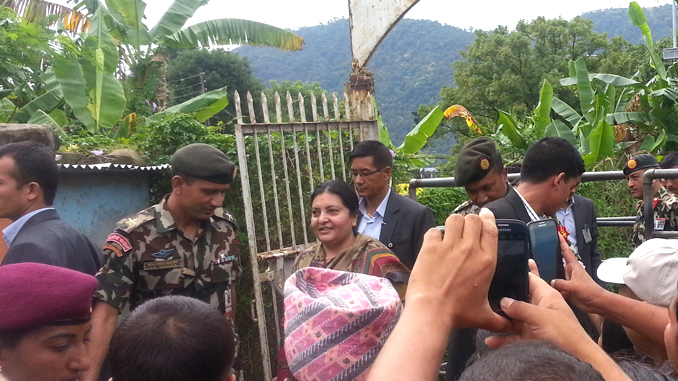 President Bidhya Devi Bhandari at Lakeside in Pokhara on Thursday. Picture: Recentfusion.com