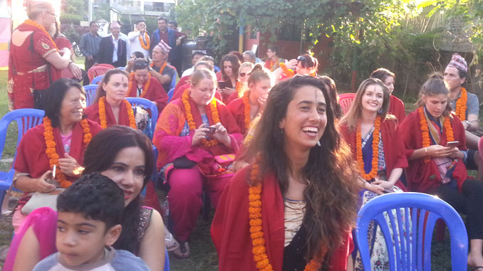 Tourists enjoying during Bhai Tika Festival in Pokhara on Tuesday. Picture: Recentfusion.com