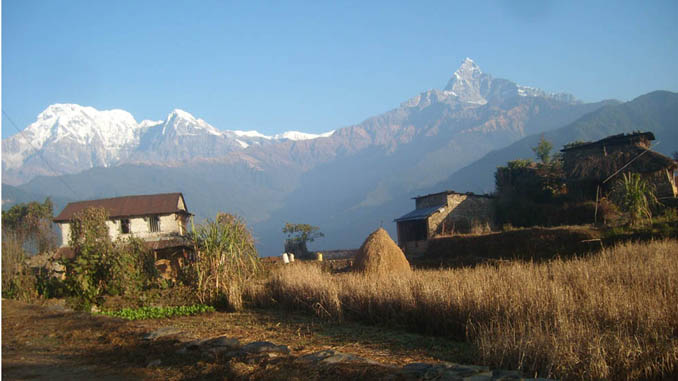 Hemjakot village and Annapurna Range.