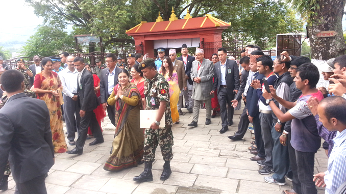 President Bidhya Devi Bhandari arrives at Bindhyabasini Temple in Pokhara on Thursday. Picture: Recentfusion.com