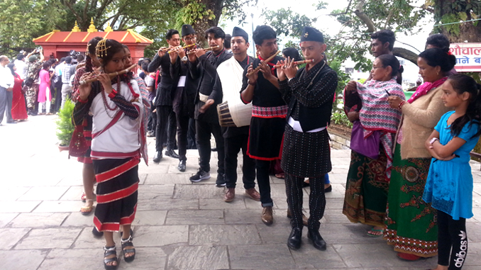 Flute players ready to welcome President Bidhya Devi Bhandari in Pokhara on Thursday. Picture: Recentfusion.com
