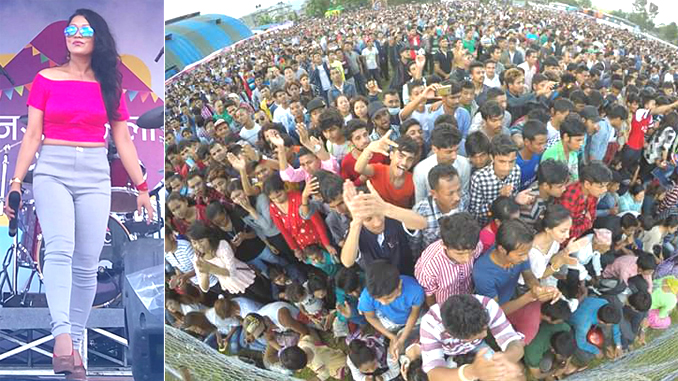 Singer Milan Amatya and audiences at Ncell Festival in Pokhara. Picture: Milan Amatya's Facebook
