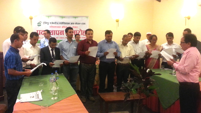 TAAN WRA executives taking the oath of office, in Pokhara on Tuesday. Picture: Recentfusion.com