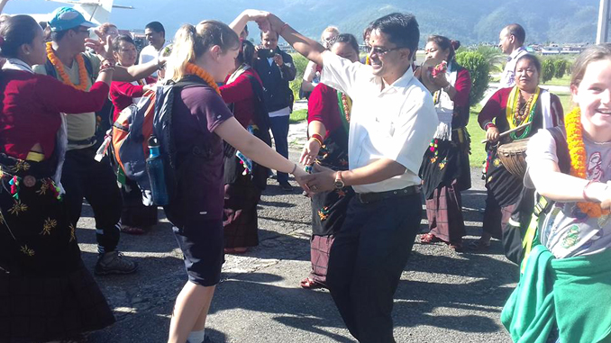 Dancing in Pokhara Airport during World Tourism Day on Tuesday. Picture: Ram Chandra Sharma's FB