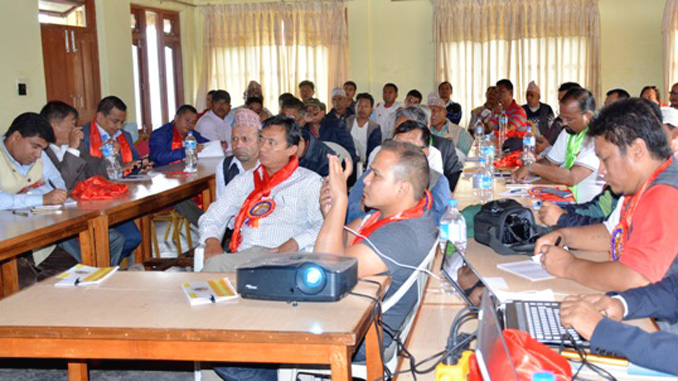 Participants of an interaction organized in Dhampus on Sunday. Picture: NRN