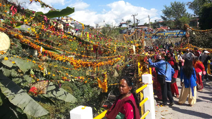 Holy ropes with flowers above the Seti River in Pokhara. Picture: Recentfusion.com