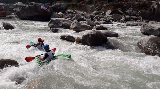 Player taking part in Boater Cross under White Water Challenge in Upper Seti on Tuesday. Picture: Milan Tiwari