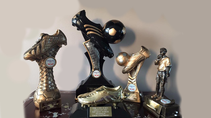 Some of the major trophies which will be sponsored by Sahara Club UK during Aaha Rara Gold Cup. Picture: Kusang Gurung